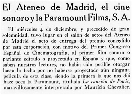 Arte y Cinematografía, noviembre de 1929.