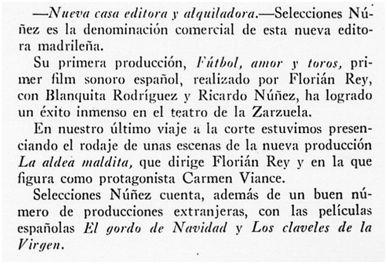 Arte y cinematografía, diciembre de 1929
