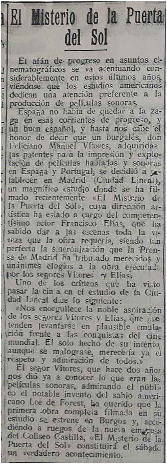 Diario de Burgos, 8-1-1930.