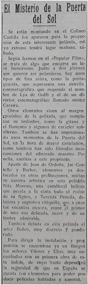 Diario de Burgos, 10-1-1930.
