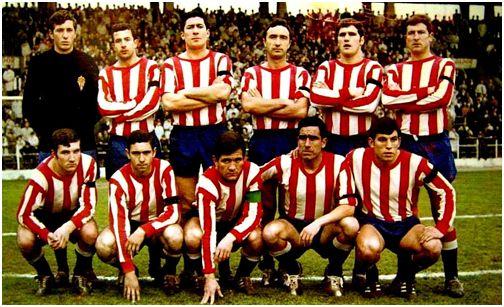 Estadio de El Molinón: Castro y Quini forman juntos en una alineación del Sporting el 2 de febrero de 1969.  Era un partido de Segunda División frente al Calvo Sotelo (1-0)