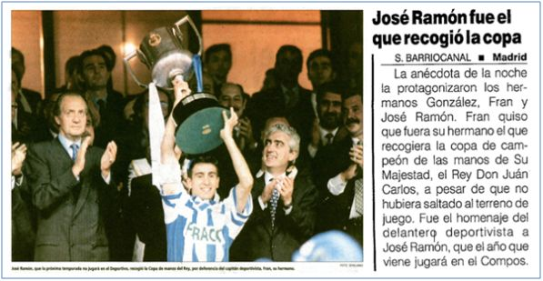 José Ramón levantando la Copa del Rey de 1995.  Este honor le hubiera correspondido a su hermano Fran, por ser el capitán del equipo, pero tuvo el detalle de que fuera su hermano mayor quien lo recogiera.