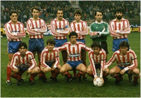 Sporting de Gijón 17 de enero de 1988 contra Murcia en El Molinón: De pie: Espinosa, Ablanedo I, Joaquín, Emilio, Ablanedo II, Jiménez; Agachados: Marcelino, Eloy, Wilmar Cabrera, Zurdi y Esteban.