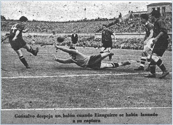Gonzalvo II en el partido de su debut con la selección española el 30 de mayo de 1948