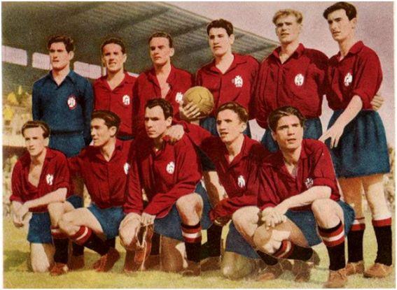 Selección Española en Estocolmo el 7 de junio de 1951 - Partido amistoso -  Alineación: Ramallets; Calvet, Biosca, Segarra; Gonzalvo III, Nando; Basora, Sobrado, Zarra, Marcet y Gainza