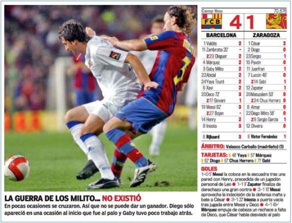 El 26 de septiembre de 2007 se enfrentaron por primera vez los hermanos Milito, Diego con el Real Zaragoza y Gabi con el FC Barcelona.  Los culés se impusieron por 4-1 en el Nou Camp.