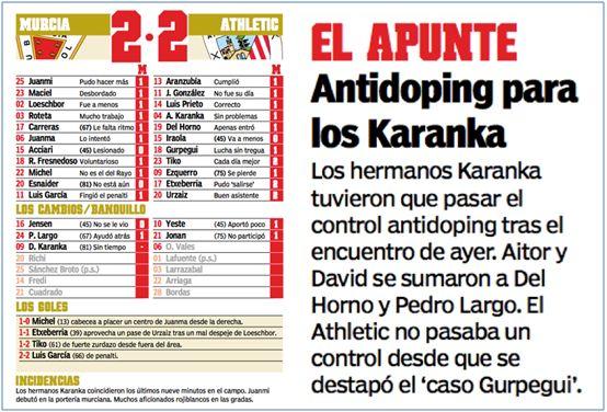 El 21 de septiembre de 2003 se enfrentaron por primera vez los hermanos Karanka, David con el Real Murcia y Aitor con el Athlétic. Curiosamente, a ambos les tocó pasar el control antidoping.