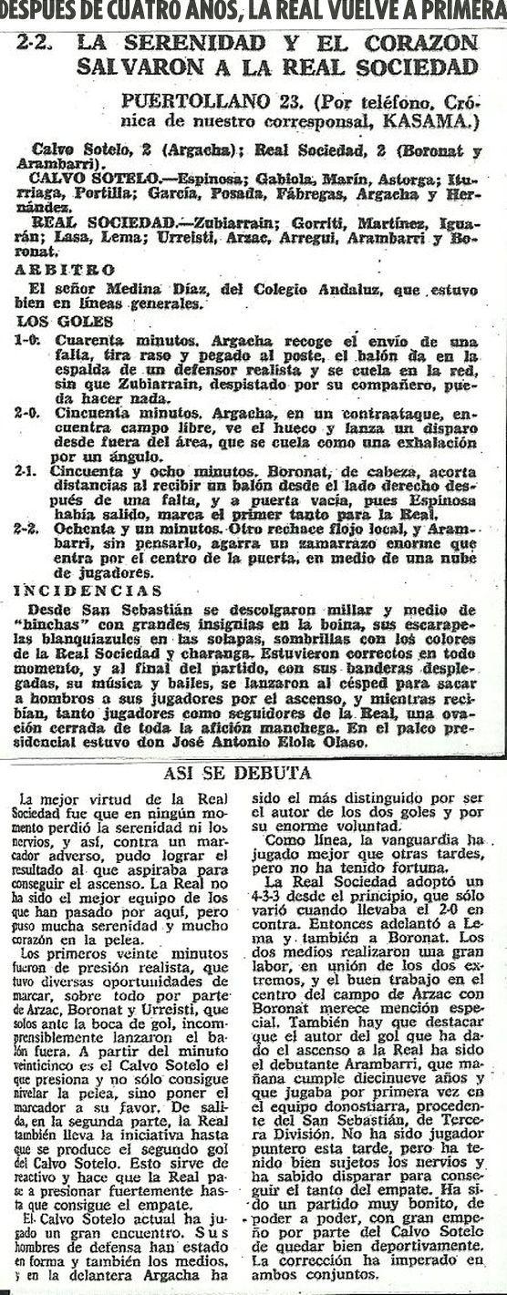 Crónica del Diario Marca de 24 de abril de 1967 donde la Real Sociedad se proclama campeón de liga de la temporada 1966/67 y asciende a Primera División.