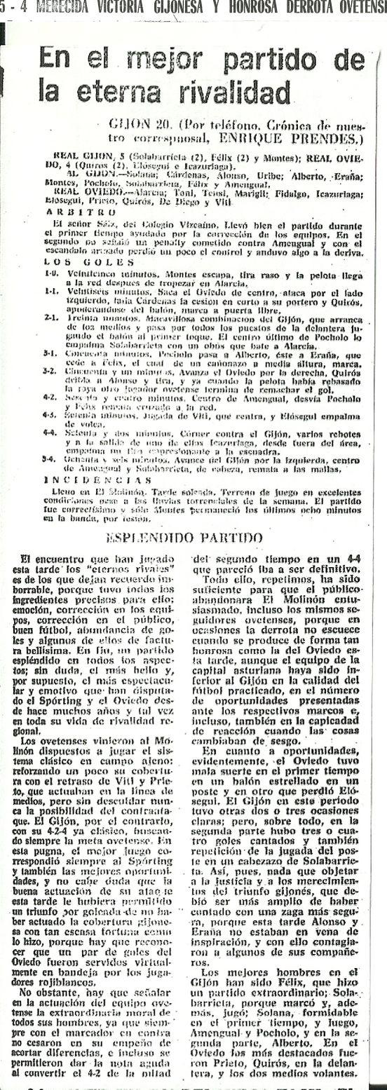 Crónica del Diario Marca del 21 de noviembre de 1966 del derby asturiano que finalizo con un espectacular resultado de 5-4 a favor del Real Gijón