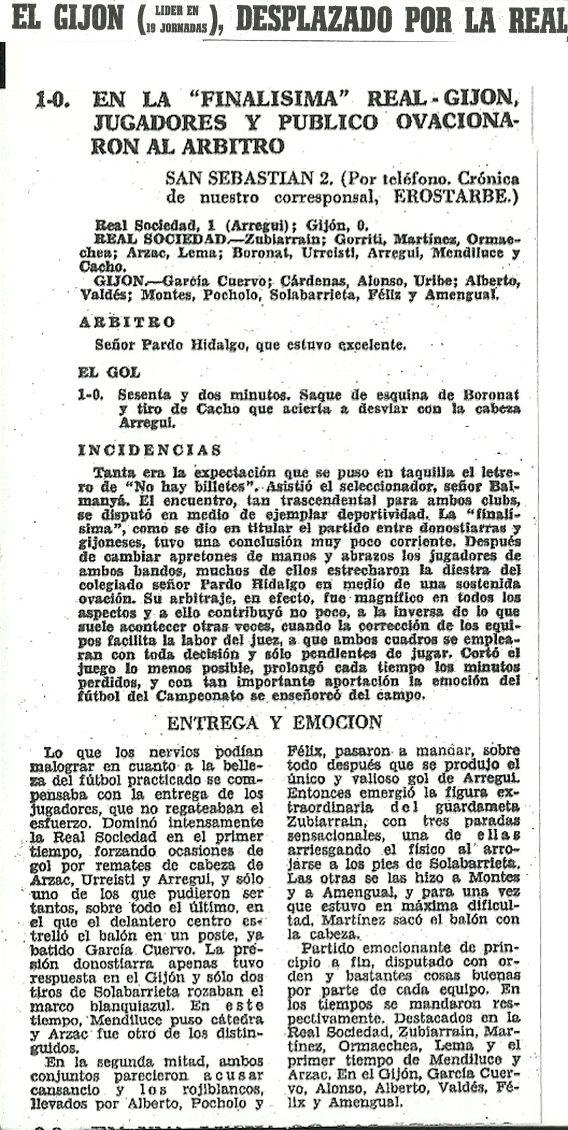Crónica del Diario Marca del día 3 de abril de 1967 donde la Real Sociedad derrotaba por 1-0 al Real Gijón arrebatándole el primer puesto de la clasificación y prácticamente el título de liga