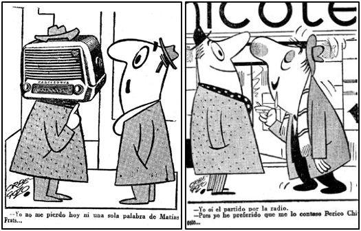 Las retransmisiones deportivas solían ser fuente de inspiración para no pocos humoristas. Sirvan dos muestras gráficas del gran Orbegozo, correspondientes a enero de 1957, la primera, y enero del 56.