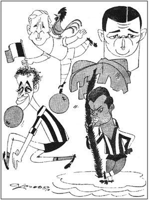 Kopa, Puskas, Peiró y Agustín, caricaturizados por Cronos con ocasión de un Madrid-Atlético donde el francés estuvo soberbio. Aquella vez  se encargó Di Stéfano de organizar el juego desde atrás, mientras Raymond Kopa dirigía el ataque en posición de nueve. Aunque el experimento difícilmente hubiese podido salir mejor, no volvería a repetirse.