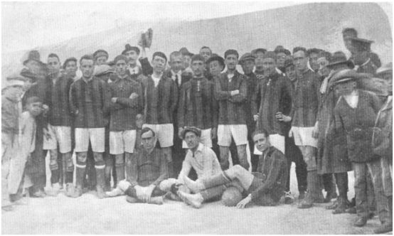 Formación que presentó el Athletic Club de Murcia en el controvertido encuentro disputado el 29 de abril de 1917 en Cartagena