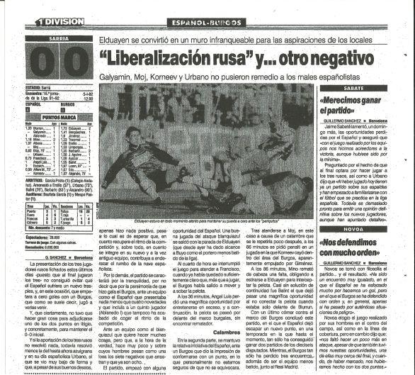 Crónica del partido Español-Burgos del diario Marca del día 6 de enero de 1992 donde debutaron los jugadores rusos Korneiev, Galyamin y Moj