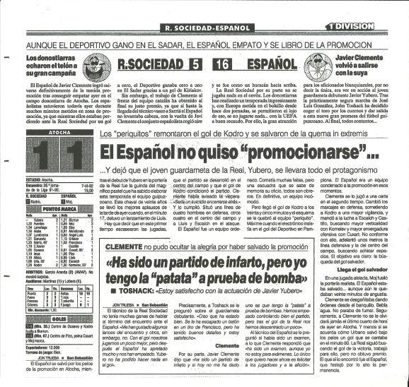 """Crónica del partido Real Sociedad-Español del diario Marca del día 8 de junio de 1992 donde los """"pericos"""" certificaban su permanencia en Primera División"""