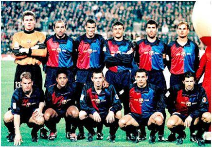 F.C. Barcelona 1.999/2.000 Arriba: Hesp; Abelardo, Rivaldo, Luis Enrique, Guardiola, Frank de Boer Abajo: Ronald de Boer, Kluivert, Cocu, Sergi, Figo. Todos los jugadores a excepción de Hesp y Rivaldo jugaron la Eurocopa de 2.000