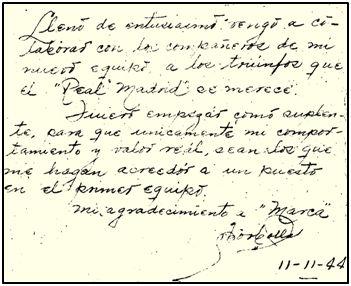 Nota autógrafa de José Luis Borbolla, apenas hubo puesto los pies en España.