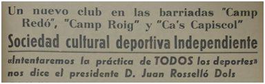 Titular en prensa anunciando la creación de la SCD Independiente, 1967 (fuente: Fiesta Deportiva)