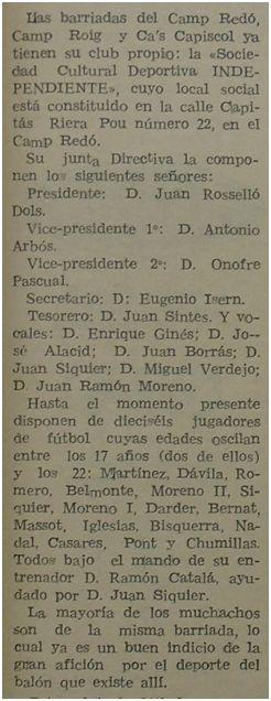 Nota de prensa con la primera junta directiva del club, 1967 (fuente: Fiesta Deportiva)