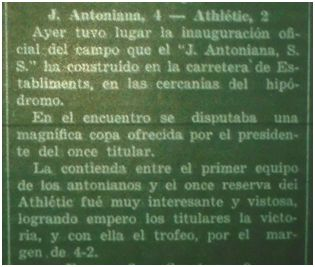 Noticia de la inauguración de La Antoniana, 2 de enero de 1935 (fuente: Correo de Mallorca)