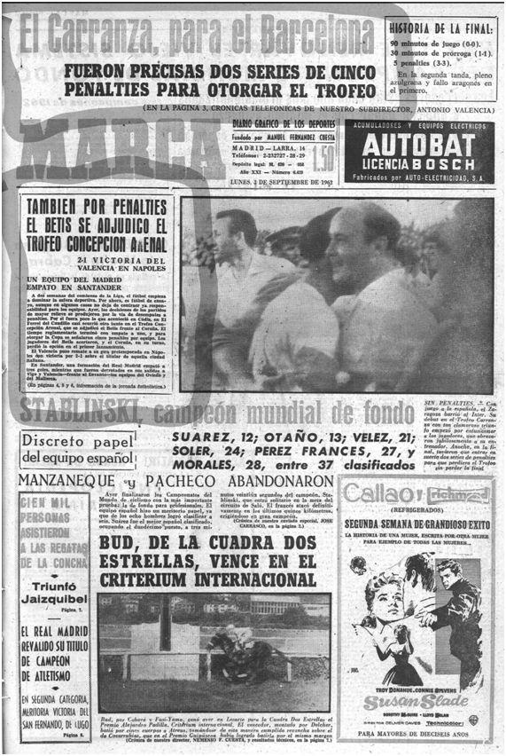 Marca, 3 de septiembre de 1962, página 1.