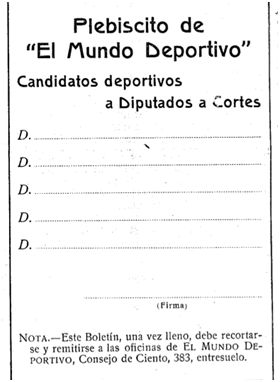 Formato de la papeleta para el voto en el plebiscito de El Mundo Deportivo, impresa en El Mundo Deportivo, 1 de enero de 1918.