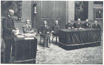 Narciso Masferrer en la Asamblea de la Cámara Sindical del Automóvil de Barcelona. Fuente: El Heraldo Deportivo, 25 de mayo de 1919.