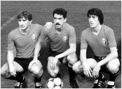 Los delanteros navarros de 83/84: Echeverría, Iriguíbel y Enrique Martín.