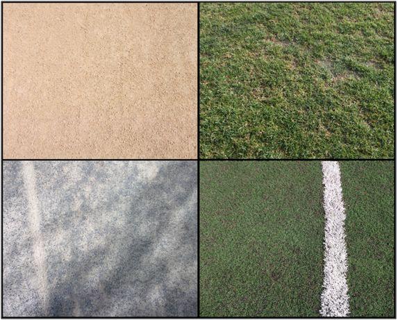 Figura 1 : Fotografía con cuatro tipos distintos de terrenos de juego; Los de tierra, albero o arena, el de césped natural y el de césped artificial.