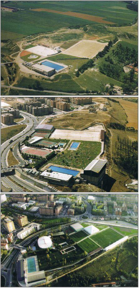 Figura 2 : Fotografías aéreas -1969, 1986 y 2007-  donde puede observarse la evolución que han sufrido las instalaciones deportivas de la Agrupación Deportiva San Juan, en Pamplona, a lo largo de su historia. (Fuente: A.D. San Juan)
