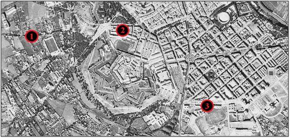 Figura 10 : Vista de Pamplona a mediados de los años 50, donde se observan el Campo de San Juan (1), el Stadium Militar Mola (2) y las instalaciones de Ruiz de Alda (3).  (Fuentes: Instituto Geográfico Nacional & SITNA).