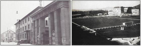 Figura 11 : Vista exterior e interior del Estadio Militar General Mola. (Fuentes: J.J. Arazuri - M.J. Armendáriz & J. Ubago).