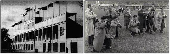 Figura 12 : A la izquierda, vista exterior del campo de San Juan en sus últimos años de existencia. A la derecha, periodistas sobre el césped antes del comienzo de un partido. (Fuentes: C.A. Osasuna – Navarra Sport).