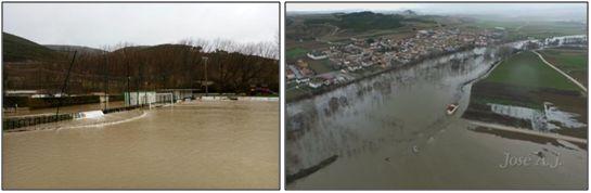 Figura 26 : Los campos de fútbol de Igueldea (Izquierda) y El Sotico (Derecha) completamente anegados. (Fuentes: C.D. Avance-Ezcabarte y C.D. Injerto)