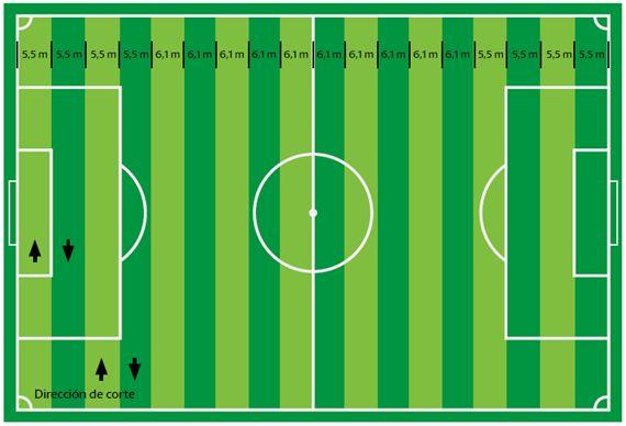 Figura 27 : Infografía sobre las medidas de las franjas para un terreno de juego de 105 metros de largo. (Fuente: Liga de Fútbol Profesional)
