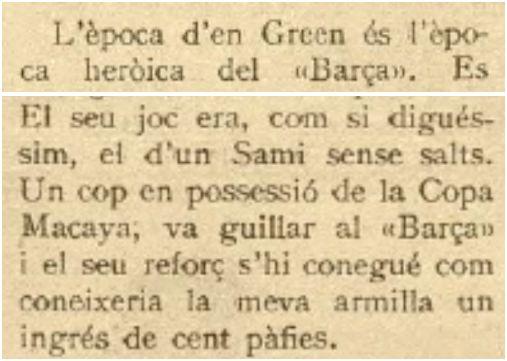 """Xut, 03/12/1924 (""""su juego era, como si dijésemos, el de un Sami* sin saltos """"). *Samitier"""