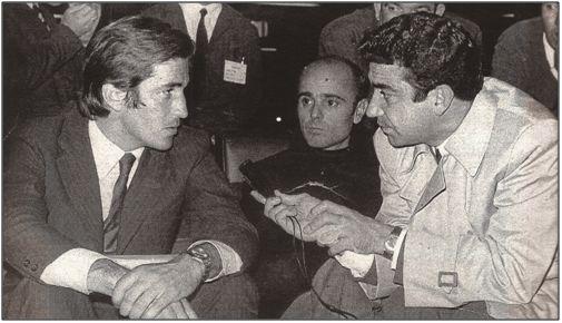 Viberti (izda.) entrevistado por Paco Cañete. En medio el presidente del C. D. Málaga, Antonio Rodríguez López.