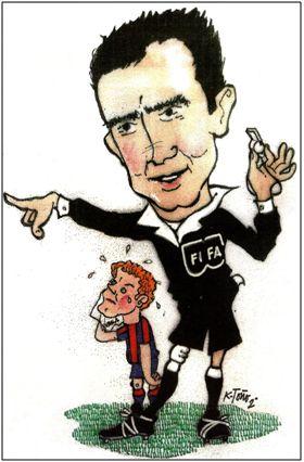 Gardeazábal caricaturizado por K. Toño Frade. Rememoraba aquí la expulsión de Kubala en Las Corts.