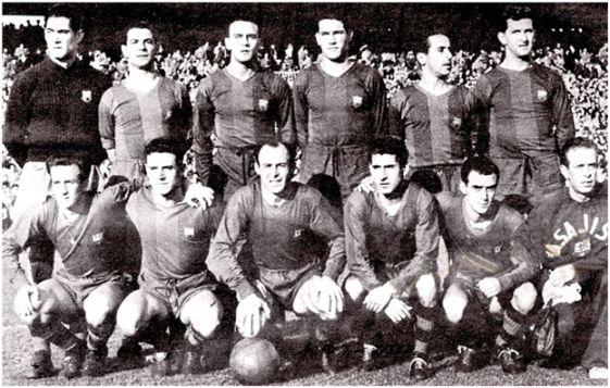 Formación 1952-53: De Pie: Ramallets, Seguer, Biosca, Segarra, Flotats, Hanke. Agachados: Basora, Bosch, César, Moreno, Manchón.