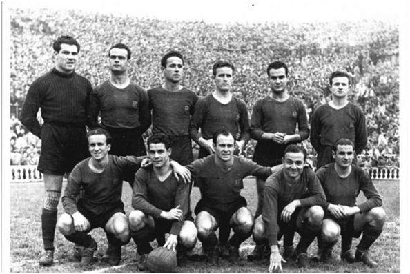 Formación 1947-48. De Pie: Velasco, Curta, Calvet, Gonzalvo III, Elías, Gonzalvo II. Agachados: Basora, Seguer, César, Florencio, Valle.