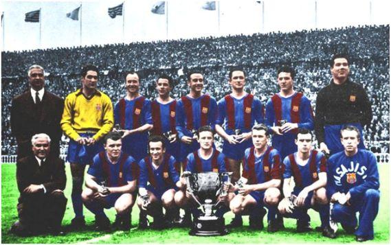 Formación 1951-52. De Pie: Ramallets, César, Seguer, Biosca, Martín, Bosch, Velasco. Agachados: Kubala, Basora, Gonzalvo III, Vila, Manchón.