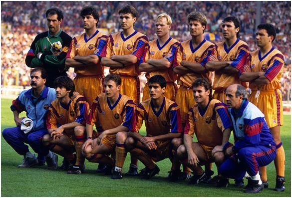 Formación del F.C. Barcelona Campeón de Liga Campeones 1991-92: De Pie: Zubizarreta, Nando, Julio Salinas, Koeman, Laudrup, Stoichkov, Eusebio. Agachados: Bakero, Ferrer, Guardiola, Juan Carlos.