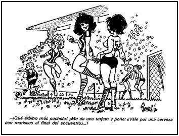 Así seguía viéndose el fútbol femenino en agosto de 1972. A los españoles nos costaba erradicar tanta caspa cronificada.