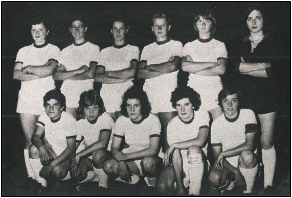 """Conchi """"Amancio"""" en el centro, con el Valdobbiadene, durante la segunda mitad de los 70. A su izquierda la danesa Susi Augustsen, excepcional goleadora y gran estrella europea."""