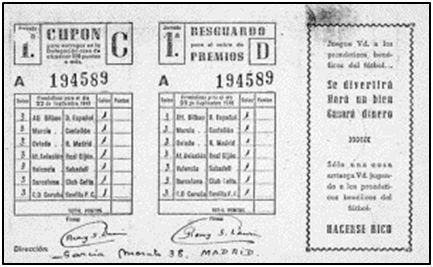 Boleto quinielístico de 1946.