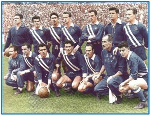 Formación 1956-57: Arriba: Goicolea, Simó, Duró, Castañer, Rodri, Medrano,  Gonzalvo III. Abajo: Basora II, Bellés, Moya, Navarro II, Allende.