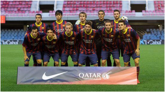 Formación 2013-14: Arriba: Sandro, Edu Bedia, Patric, Masip, Sergi Gómez. Abajo: Espinosa, Gafarot, Dani Nieto, Planas, Ilie, Joan Roman.