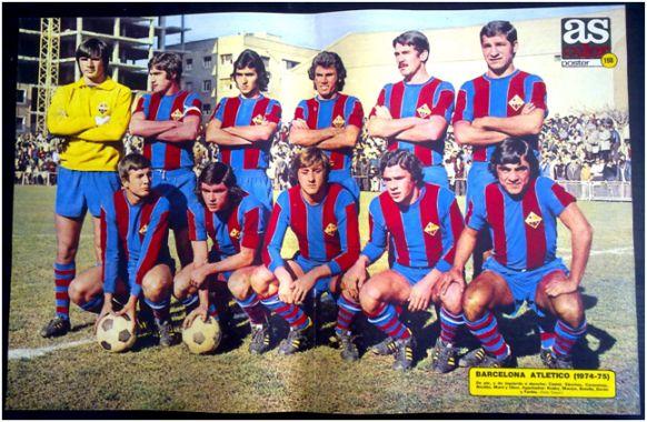 Formación 1974-75: Arriba: Castell, Luis Sánchez, Corominas, Nicolás, Moré, Olmo. Abajo: Ruski, Macizo, Botella, Durán y Fortes.