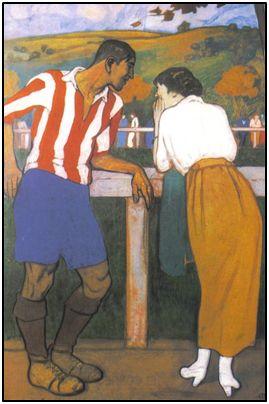 Con su novia Avelina, según el muy conocido cuadro de Aurelio Arteta.