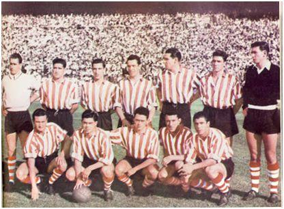 Formación Athletic Club 1955-56: De pie: Lezama, Orue, Mauri, Maguregi, Garay, Artetxe, Carmelo. Agachados: Canito, Arieta I, Uribe, Markaida, Gainza.